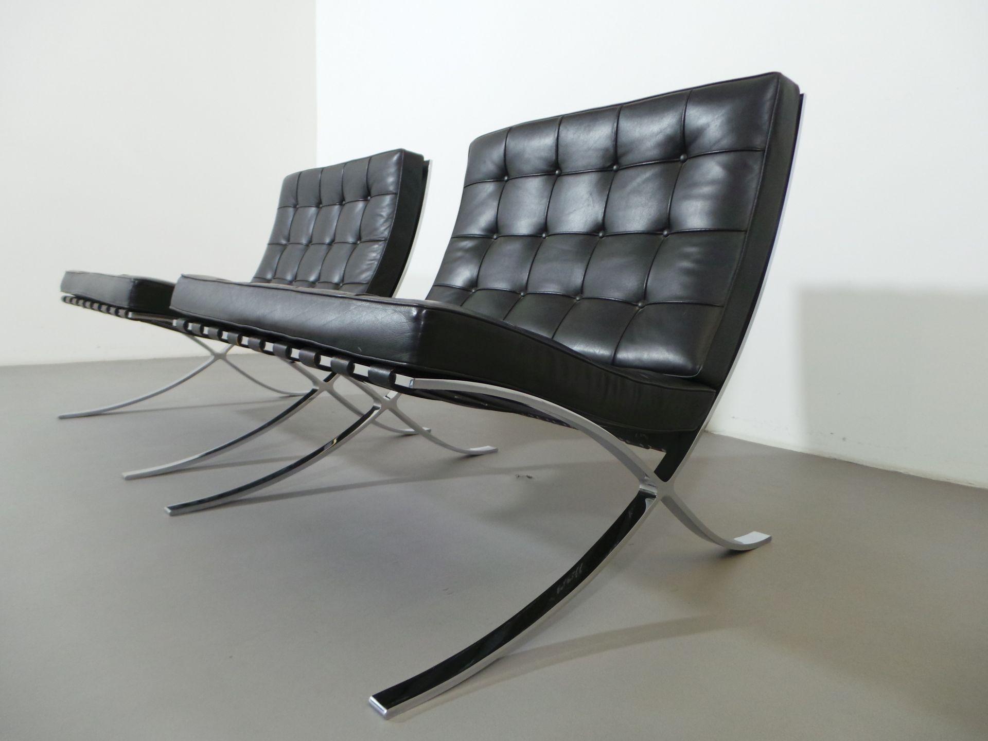 knoll international 2 x sessel barcelona chair mr 90 leder