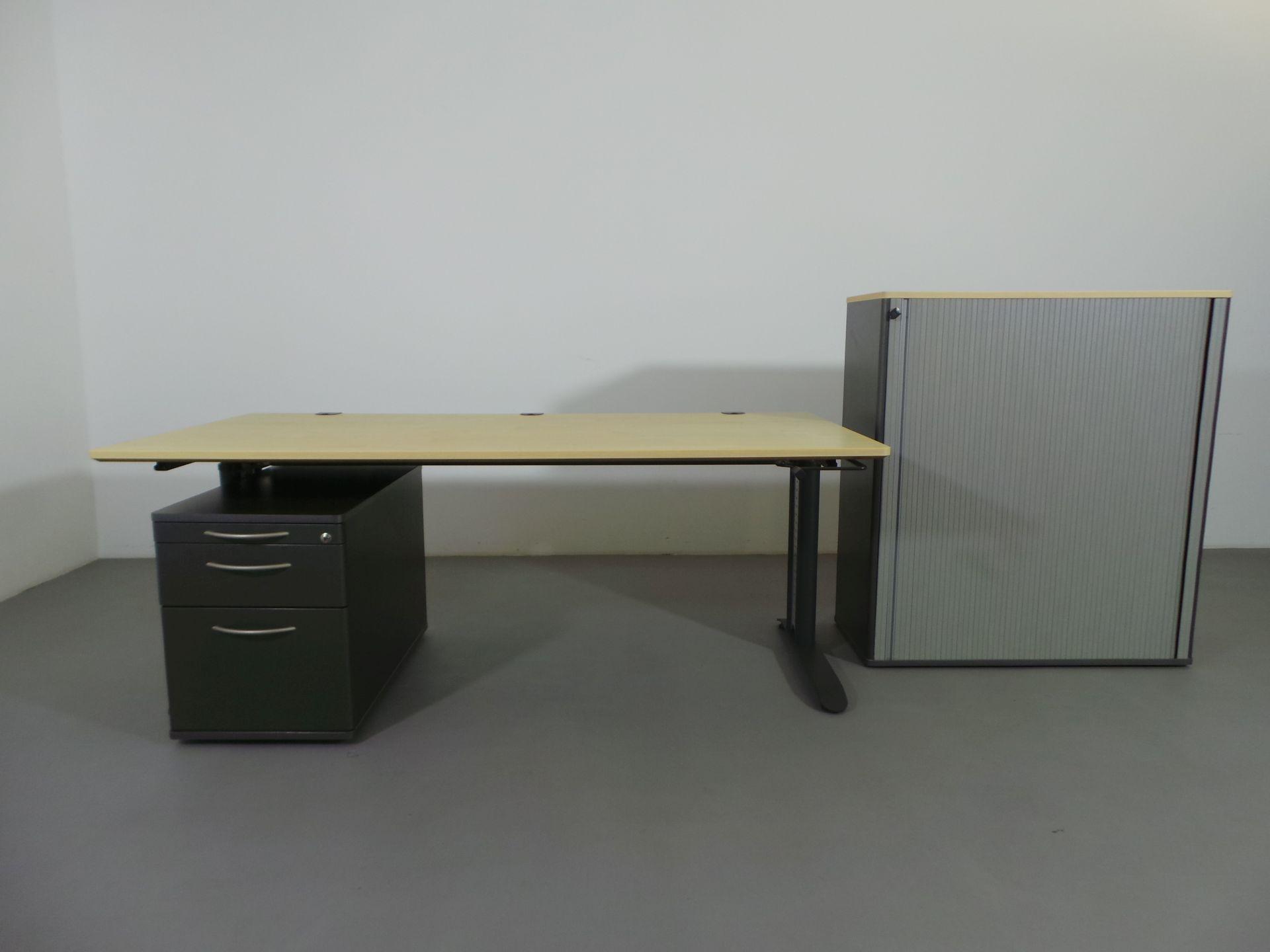 b ro schreibtisch h henverstellbar rollcontainer. Black Bedroom Furniture Sets. Home Design Ideas
